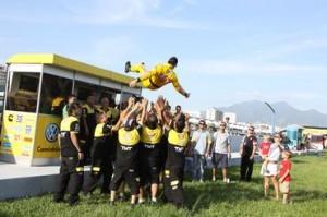 Felipe Giaffone comemorando a Pole-Position