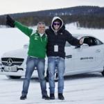 João e Márcio Campos em ação da Mercedes AMG em Arjeplog