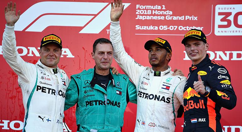 Pódio em Suzuka teve Bottas, Hamilton e Verstappen (RBCP/Getty Images)