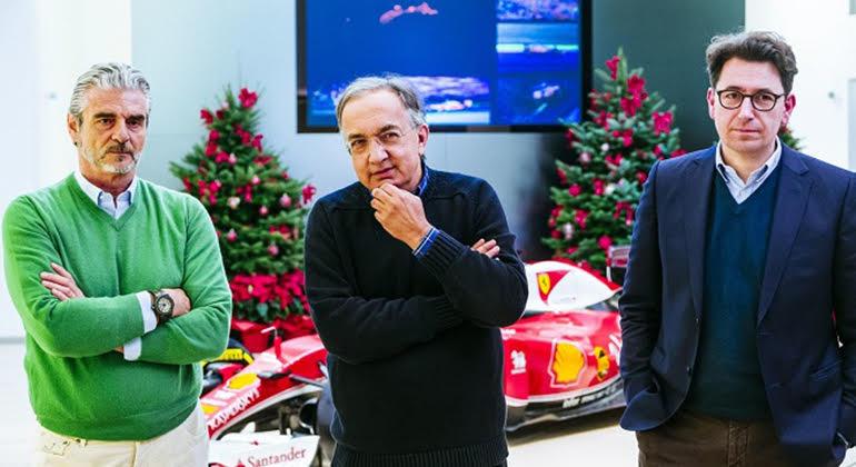 Arrivabene (E), Marchionne e Bignotto: os vértices da discórdia atual (Ferrari)