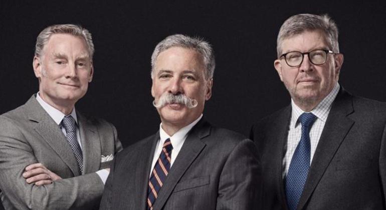 O trio da Liberty Media que manda na F-1: Sean Bratches (E), Chase Carey e Ross Brawn (Liberty Media)