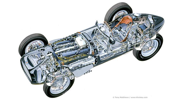 Projetado em 1947, o BRM de motor 1,5 V-16 disputou competições até 1955 (BRM Tony Matthews)
