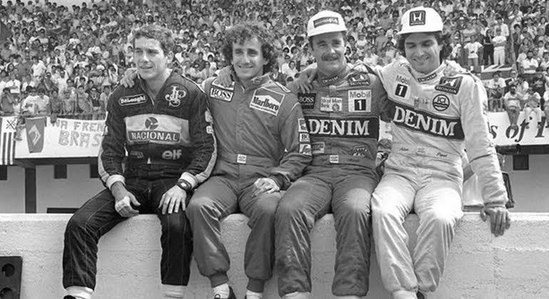Nos anos 1980 Senna (E), Prost, Mansell e Piquet equilibraram as forças da F-1 (Arquivo Pessoal)