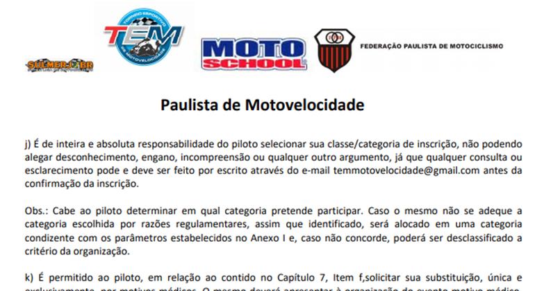 No Campeonato Paulista a graduação dos pilotos é determinada pelo próprio concorrente (Site FPM)