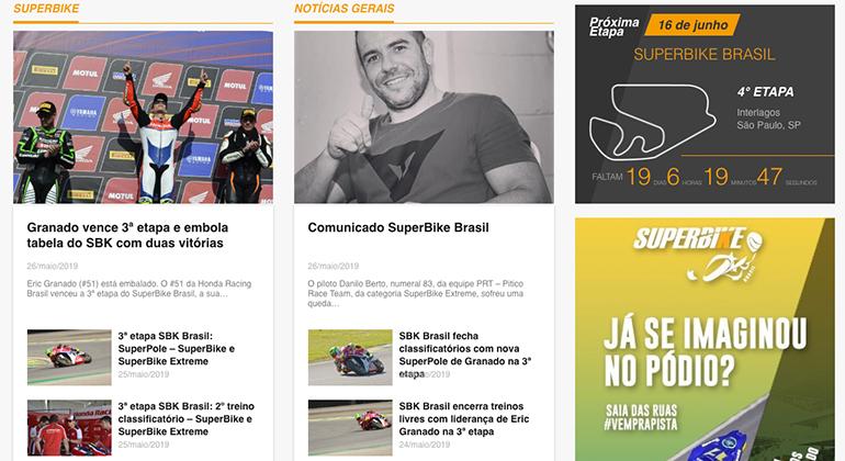 Site do SBB informa sobre o acidente e anuncia nova etapa (www.superbikebrasil.com.br)