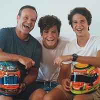 Rubens Barrichello com os filhos Fernando e Eduardo (Reprodução/ Instagram)