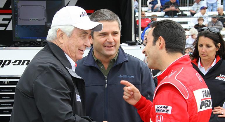 Penske (E), Gil e Castro Neves: essa formação conquistou quatro vitórias na Indy 500 (Indycar.Com)