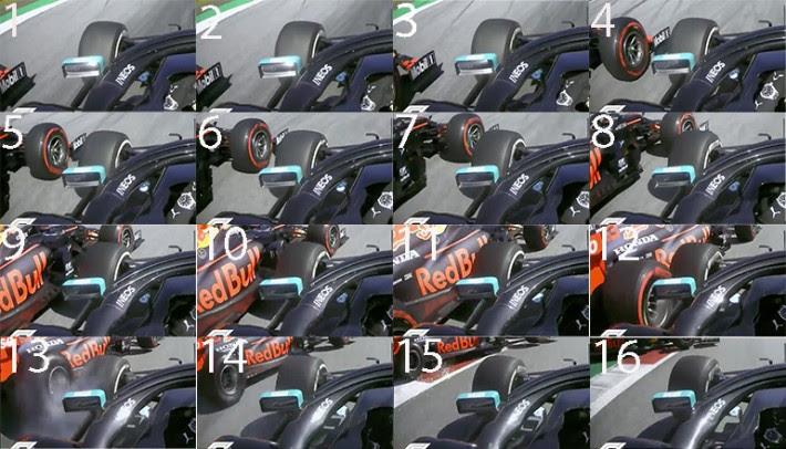 A mesma cena vista pela camera do carro de Hamilton (Formula1.com)
