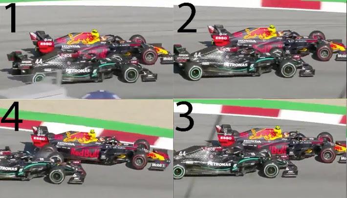 A sequência do choque entre Hamilton e Albon vista pela TV (Formula1.com)