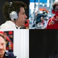 Líderes: Wolff (Alto, Esq.), Binotto, Stroll e Horner (Mercedes/ Ferrari, Aston Martin/Red Bull)