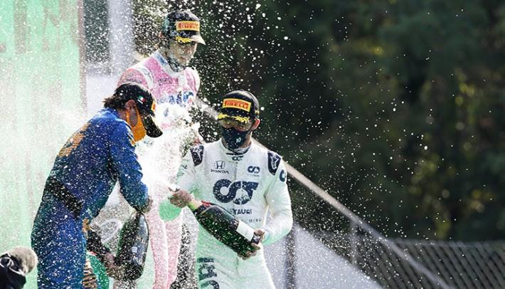 A partir da esquerda: Sainz, Stroll e Gasly, futuros astros (Red Bull)