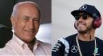 Fangio (E) e Hamilton: incomparáveis, eles personificam a primeira e a última década da F1 (Fotos Mercedes)